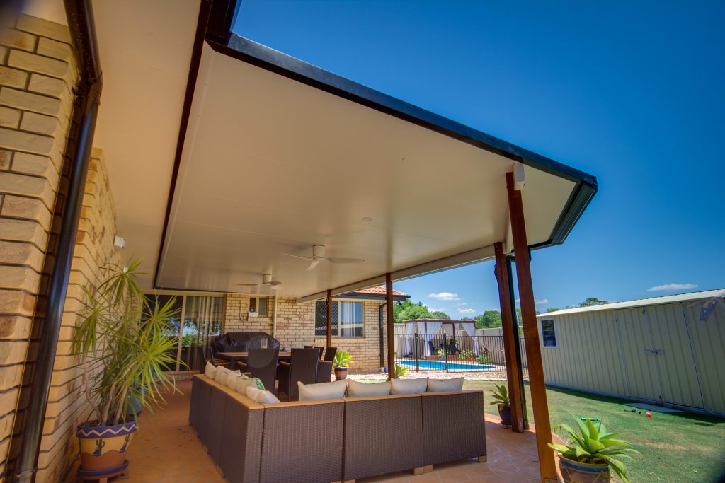Patio Roof Brisbane with merbau posts