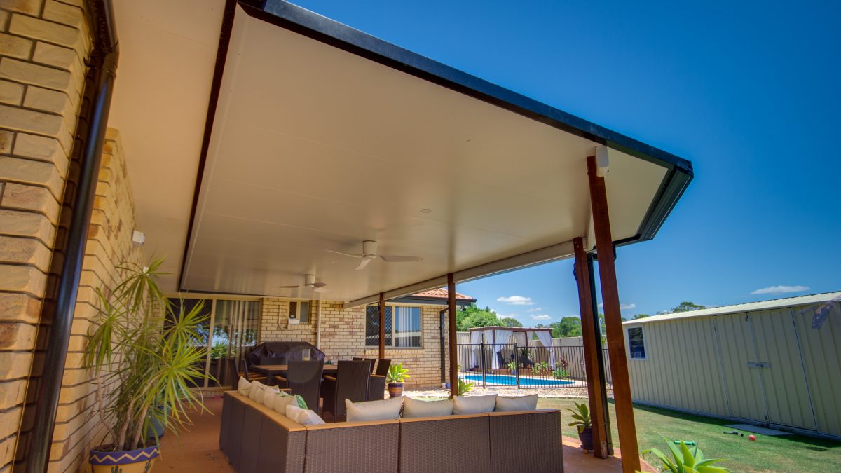 Patio Roof Brisbane with merbau posts