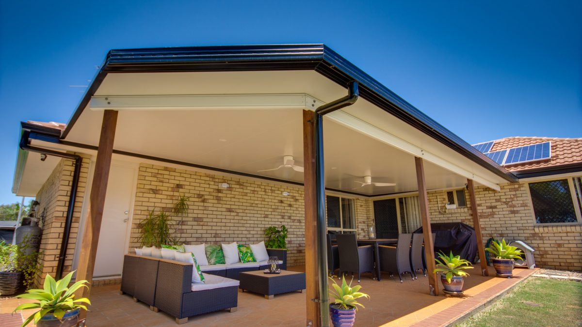 Outdoor Patio Roofing Brisbane with merbau posts